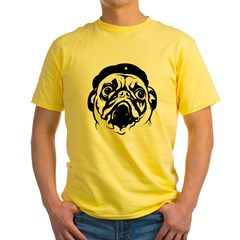 Pug Revolutionary Icon- Ash Grey Yellow T-Shirt