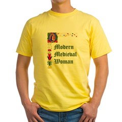 Modern Medieval Woman Ash Grey Yellow T-Shirt