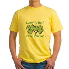 Lucky To Be A Twin Grandma Yellow T-Shirt