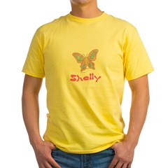 Pink Butterfly Shelly Ash Grey Yellow T-Shirt