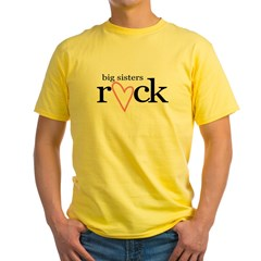 big sisters rock heart Yellow T-Shirt