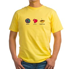 Peace Love and Coffee Yellow T-Shirt