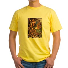 Miyamoto Musashi Fights Nue Ash Grey Yellow T-Shirt