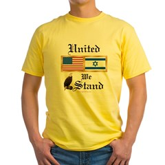 US & Israel United Ash Grey Yellow T-Shirt