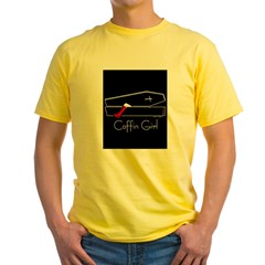 COFFIN GIRL Ash Grey Yellow T-Shirt