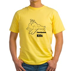 Constipation Kills! Sleeveless Chicken T-Shir Yellow T-Shirt
