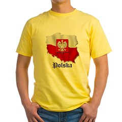 Poland flag map Yellow T-Shirt