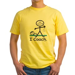 Swimming Coach Ash Grey Yellow T-Shirt