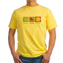 Peace Love Tennis Yellow T-Shirt