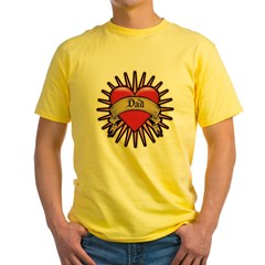 Father's Day Red Heart Dad Tattoo Yellow T-Shirt