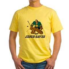 Jesus Saves (Hockey Goalie) Yellow T-Shirt