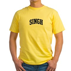SINGH (curve-black) Yellow T-Shirt
