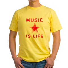 Music is Life Yellow T-Shirt
