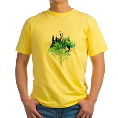abstract floral design Yellow T-Shirt
