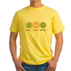 Recycling Peace Love Recycle Yellow T-Shirt