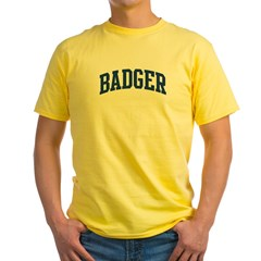BADGER design (blue) Yellow T-Shirt