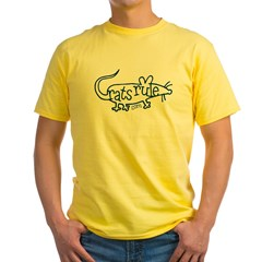 Rats Rule Outline Yellow T-Shirt