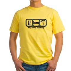 Eat, Sleep, Skydiving Yellow T-Shirt