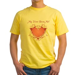 My Niece Loves Me Heart Yellow T-Shirt