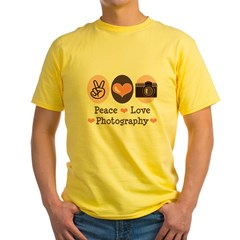 Peace Love Photography Camera Yellow T-Shirt