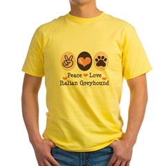 Peace Love Italian Greyhound Yellow T-Shirt