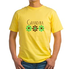 Grandma - Blue/Brown Flowers Yellow T-Shirt