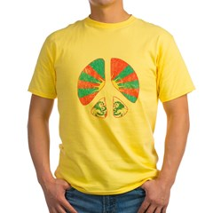 Free Tibet Peace Sign Yellow T-Shirt