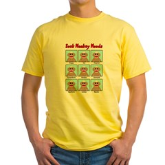 Sock Monkey Moods Yellow T-Shirt