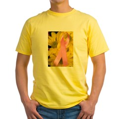 Pink Ribbon on Flowers Yellow T-Shirt