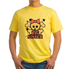 Pink bow skull big sister Yellow T-Shirt