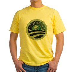 ObamaEarth-distressed on black Yellow T-Shirt
