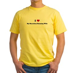 I Love My Marathon Running Wi Yellow T-Shirt