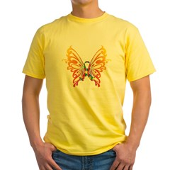 Autism Butterfly Ribbon Yellow T-Shirt