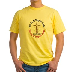 With God Cross Lung Cancer Yellow T-Shirt