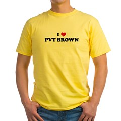 I Love PVT BROWN Yellow T-Shirt