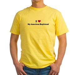 I Love My American Boyfriend Yellow T-Shirt
