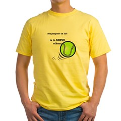 Tennis: Serve Others Men's Sports T-Shirt Yellow T-Shirt