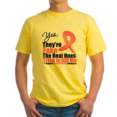Yes, They're Fake Breast Canc Yellow T-Shirt