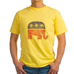2-RepublicanLogoTexturedGreyBackgroundFadedTs Yellow T-Shirt