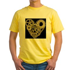 Women's Steampunk Heart T-Shirt (black) Yellow T-Shirt