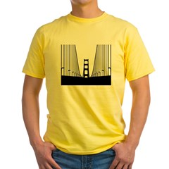 bay.bridge.black Yellow T-Shirt