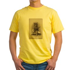 Cat Playing a Banjo Yellow T-Shirt