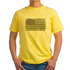 Camo American Flag [Vintage] Yellow T-Shirt