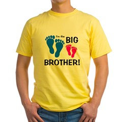 Big Brother Baby Footprints Yellow T-Shirt