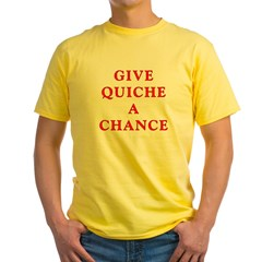 "Polymorph ""Give Quiche A Chance"" Red Dwarf Yellow T-Shirt"