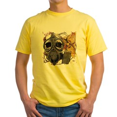 Biohazard Skull in Mask Yellow T-Shirt
