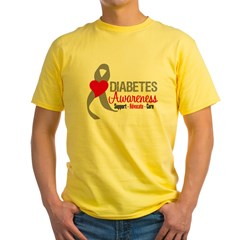 Diabetes Heart Ribbon Yellow T-Shirt
