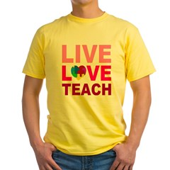 Live Love Teach Autism Yellow T-Shirt