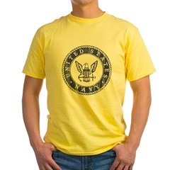 Distressed USN Logo Yellow T-Shirt