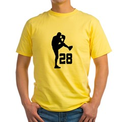 Baseball Uniform Number 28 Yellow T-Shirt